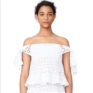 Rebecca Taylor Off The Shoulder Amora Lace Top